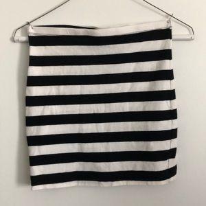Black and white striped h&m basic pencil skirt